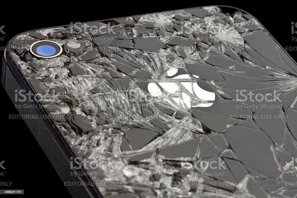 Cracked Apple iPhone stock photo