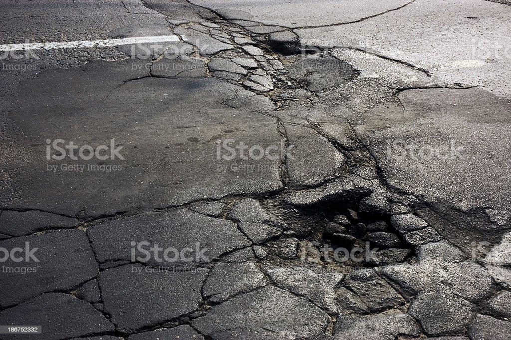 Cracked Asphalt and Pot Holes stock photo
