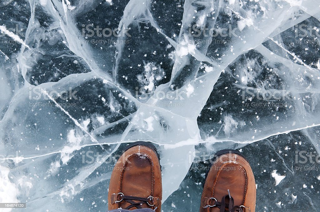 Cracked black ice under a pair of brown shoes stock photo
