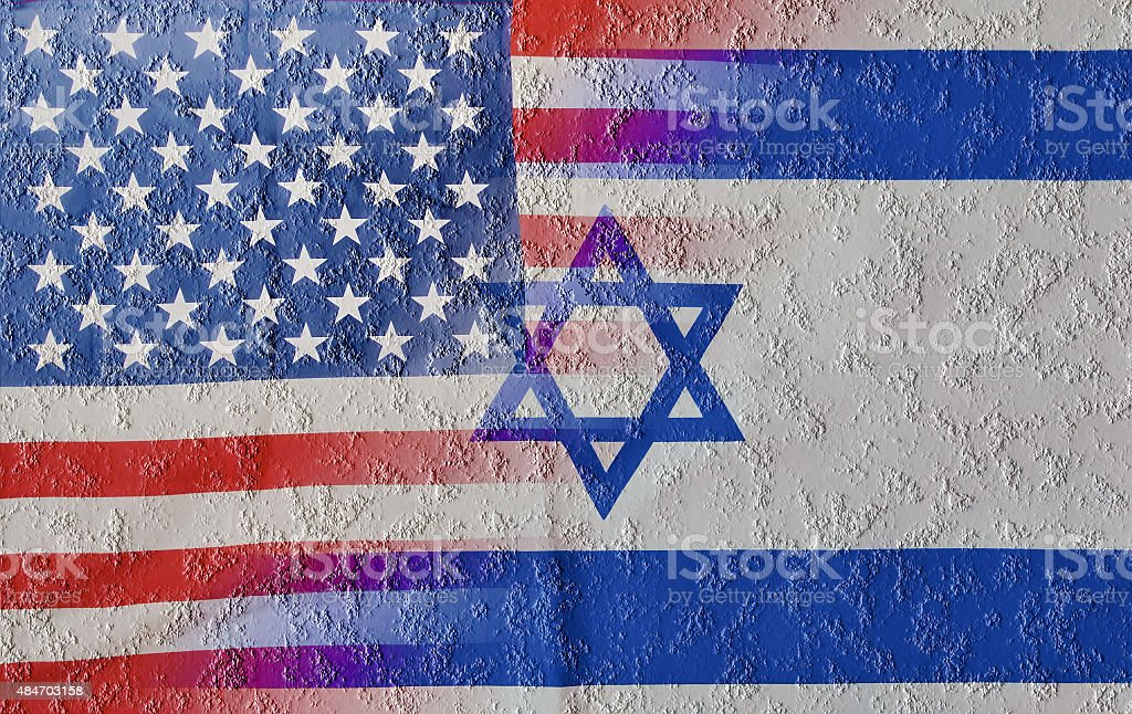 Cracked blended USA and Israel Flags stock photo