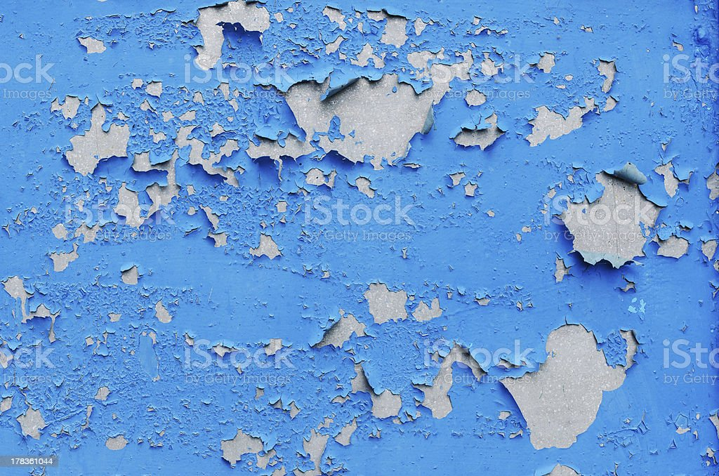 cracked blue paint surface as grunge background royalty-free stock photo