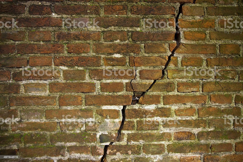 Cracked brick wall stock photo