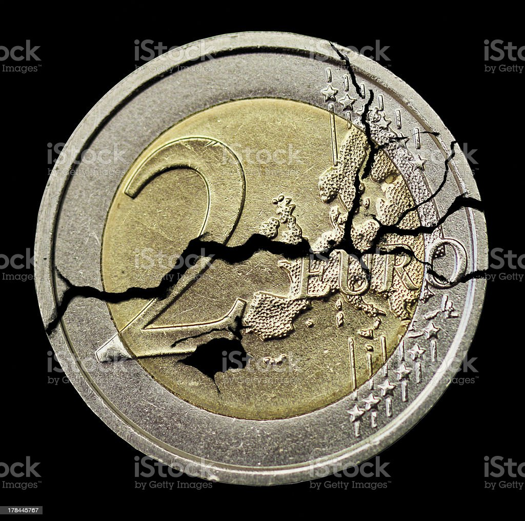 cracked coin stock photo