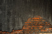 Cracked concrete brick wall background