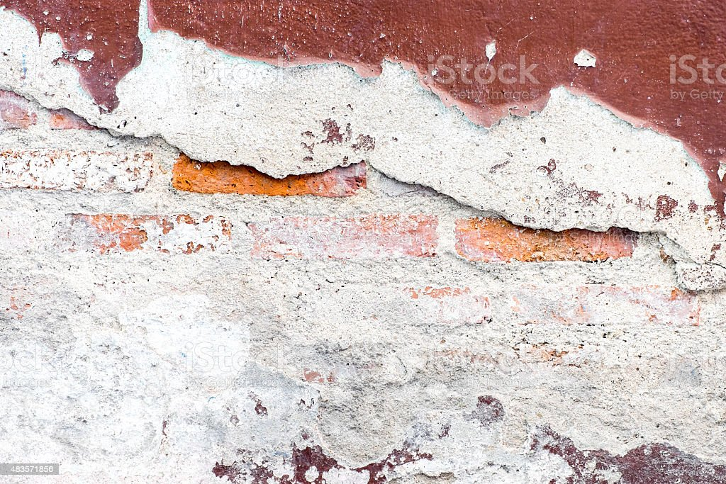 Cracked decay painted concrete wall texture background,grunge wa stock photo
