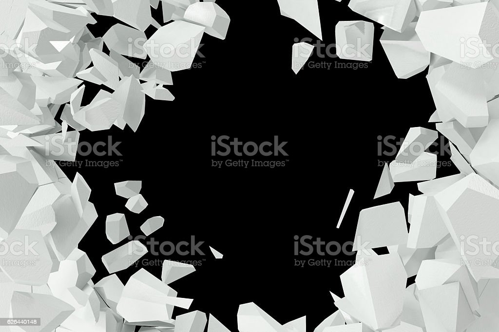 Cracked, destruction of a white wall, template for  content. 3d stock photo
