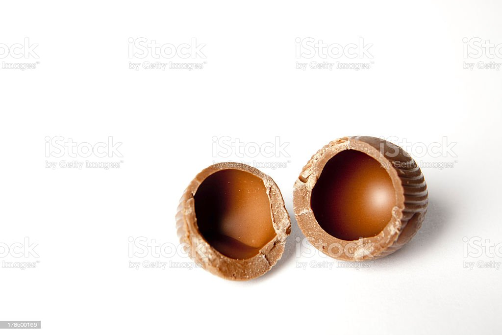 Cracked Easter chocolate egg royalty-free stock photo