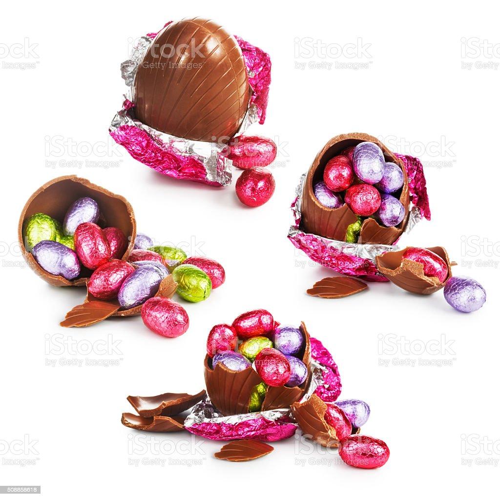 Cracked easter eggs stock photo