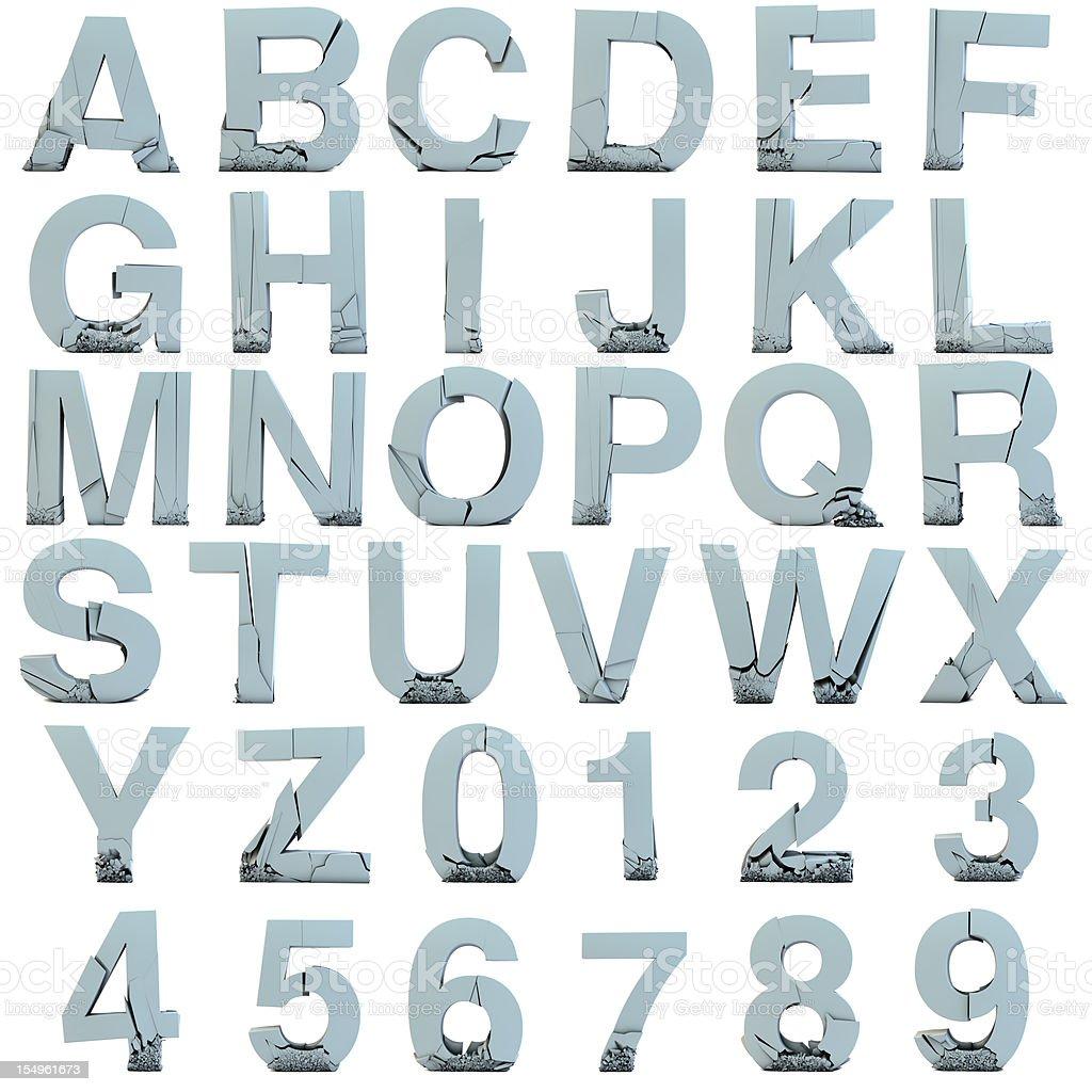 Cracked font stock photo
