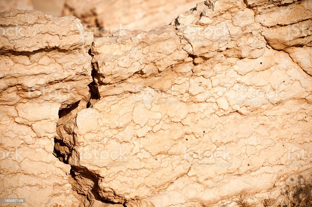 Cracked foundation in ancient stone in Palmyra, Syria royalty-free stock photo