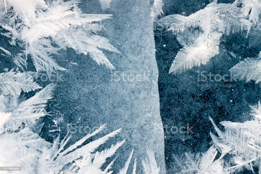 Cracked frozen surface and hoar-frost ice crystals royalty-free stock photo