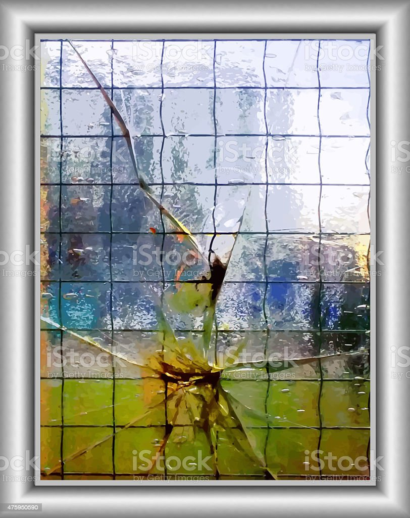 Cracked glass (way of vector graphics) stock photo