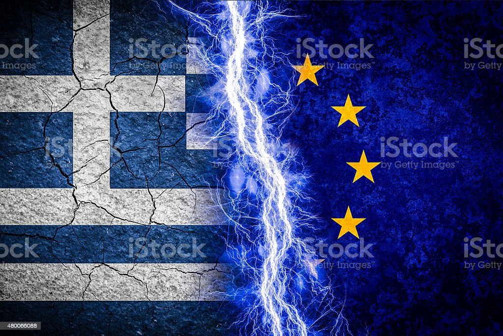 Cracked Greece flag. Greek crisis concept. stock photo