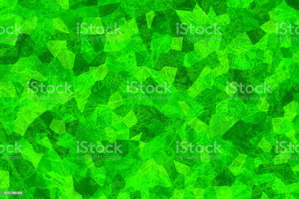 Cracked green texture. Crystallized structure. Abstract background. Mosaic wallpaper stock photo
