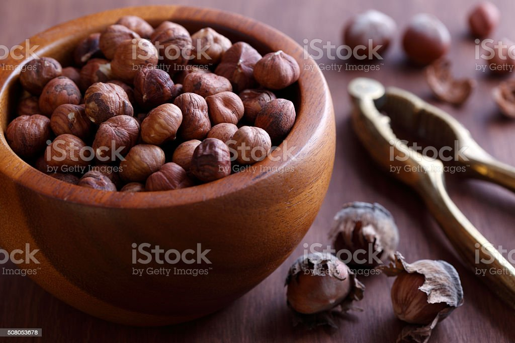 Cracked Hazelnut stock photo