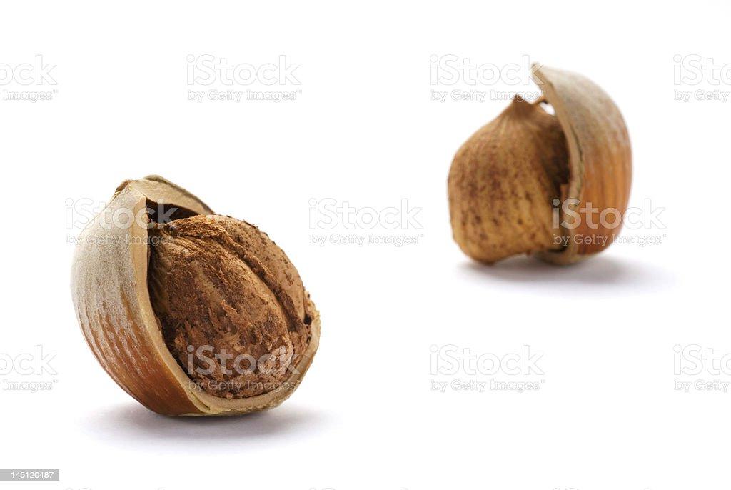 Cracked Hazelnuts isolated on white background royalty-free stock photo