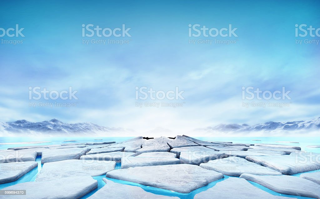 cracked ice floe floating on blue water mountain lake stock photo