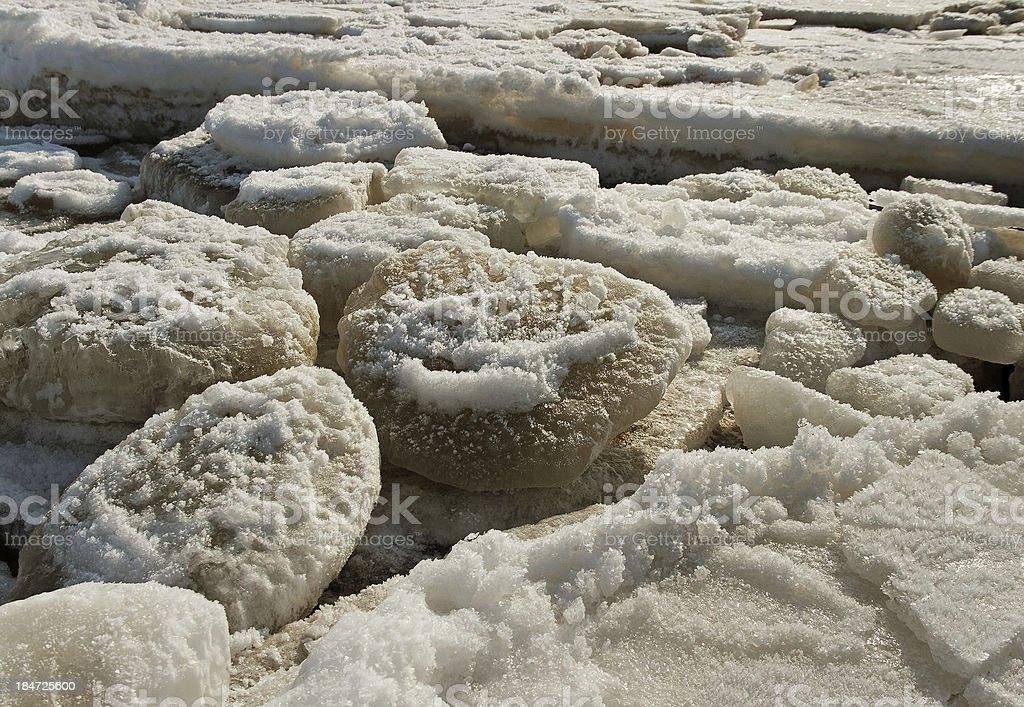 Cracked ice on sea surface. royalty-free stock photo