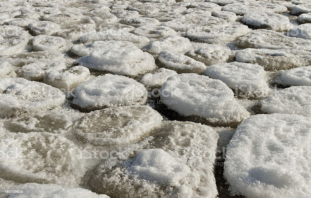 Cracked ice on sea surface. royalty-free stock photo
