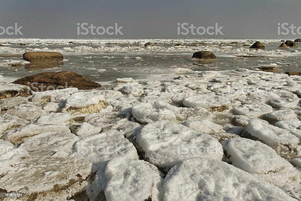 Cracked ice on the sea surface. royalty-free stock photo