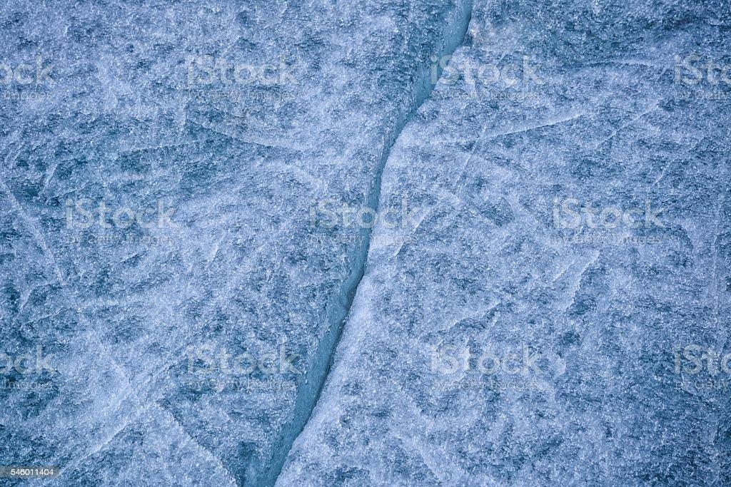 Cracked Lake Ice on a Frozen Minnesota Lake stock photo