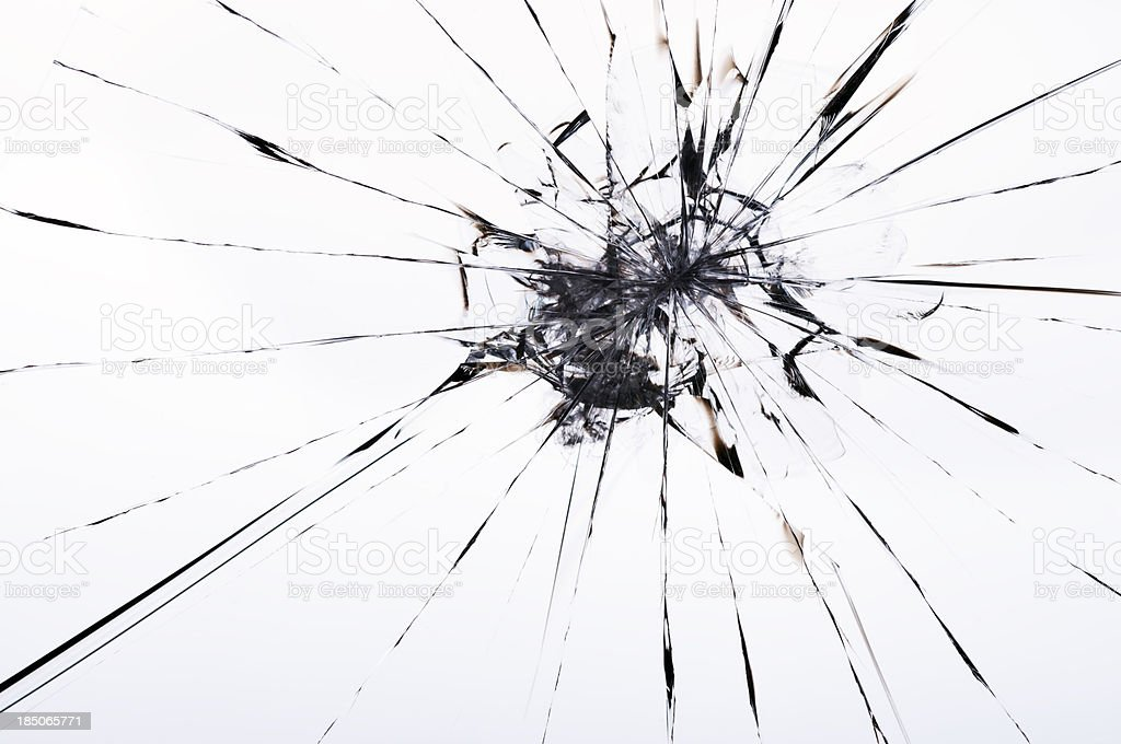 cracked laminated glass stock photo