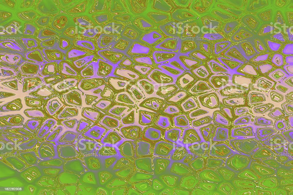 Cracked mosaic background - green-violet. royalty-free stock photo