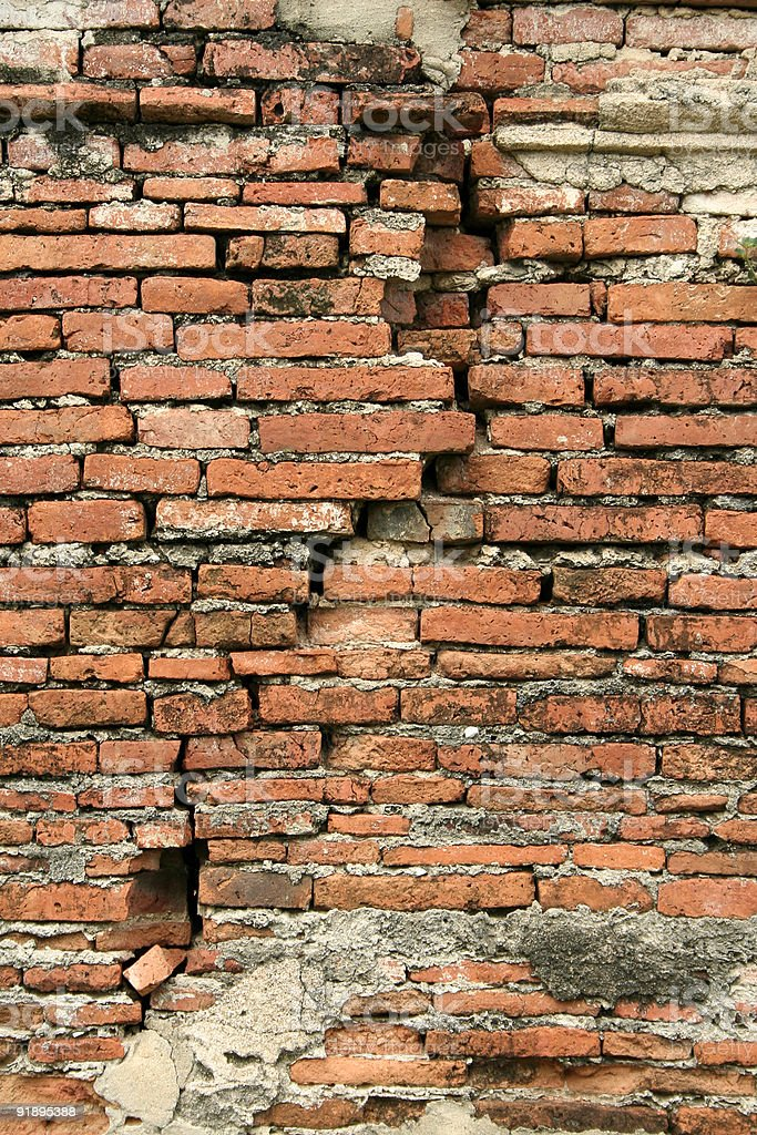 cracked old brick wall background Ayuthaya royalty-free stock photo