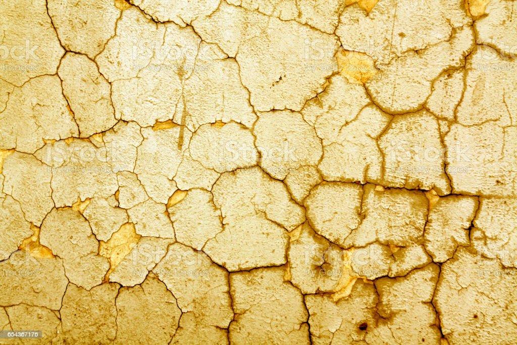 Cracked orange cement wall texture. stock photo