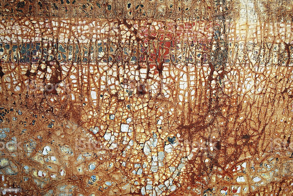 Cracked paint on rusting metal royalty-free stock photo