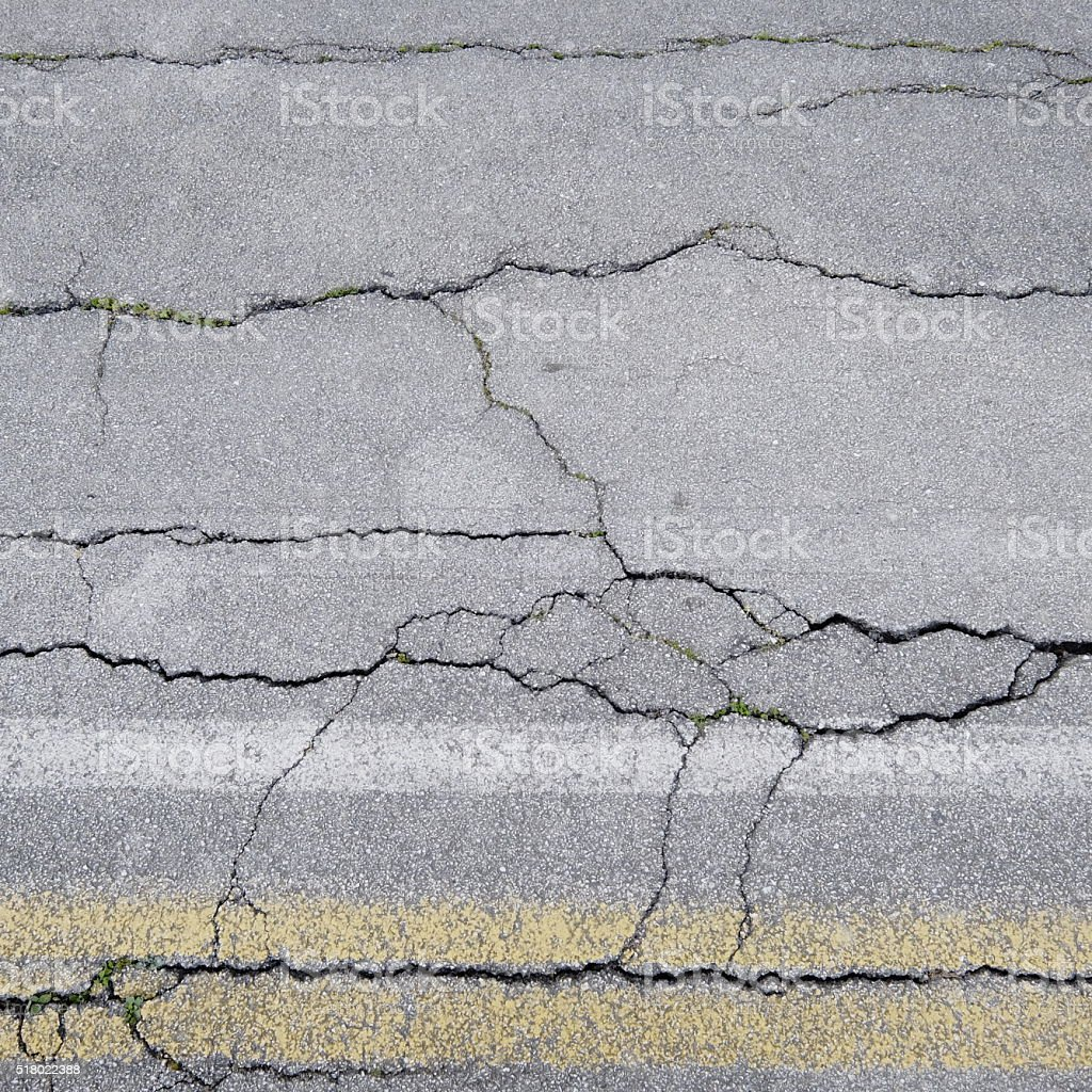 Cracked road surface - asphalt in bad conditions stock photo
