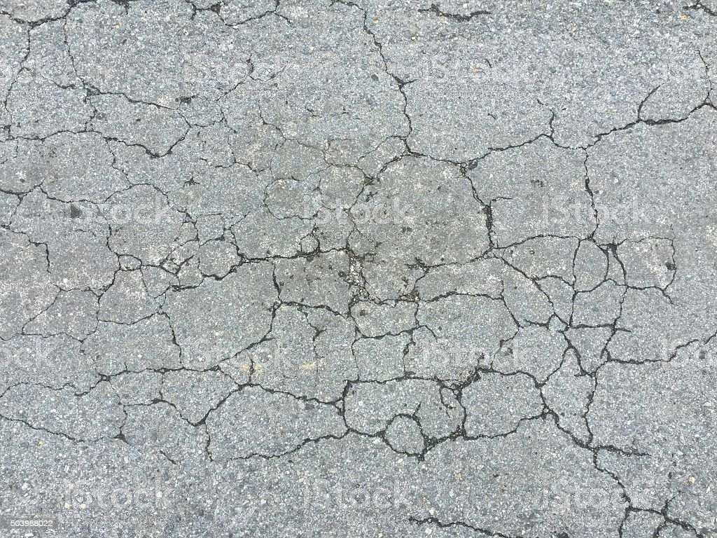 Cracked road surface texture background abstract stock photo