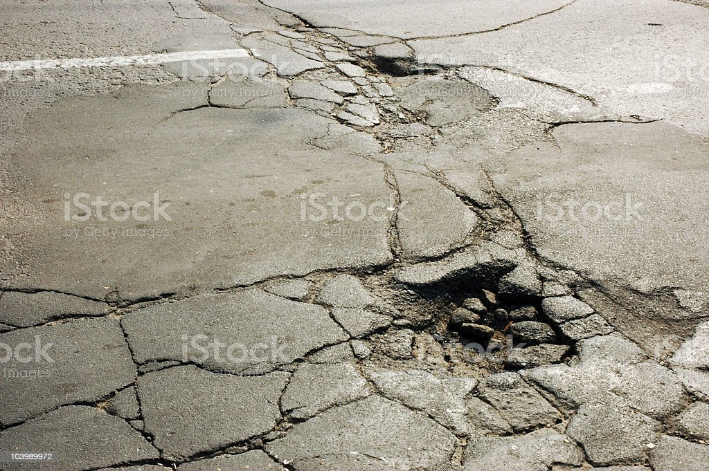 Cracked Road Surface with Potholes royalty-free stock photo