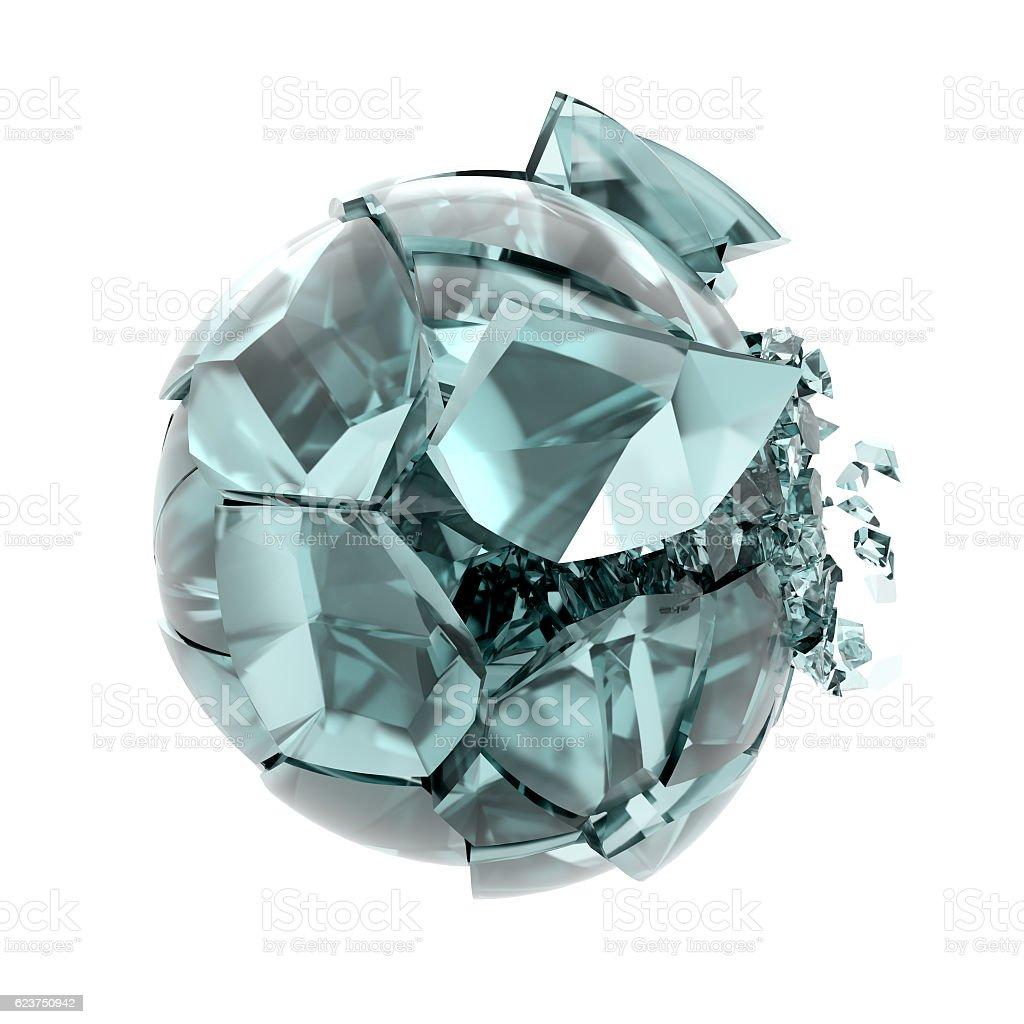 cracked transparent glass ball stock photo