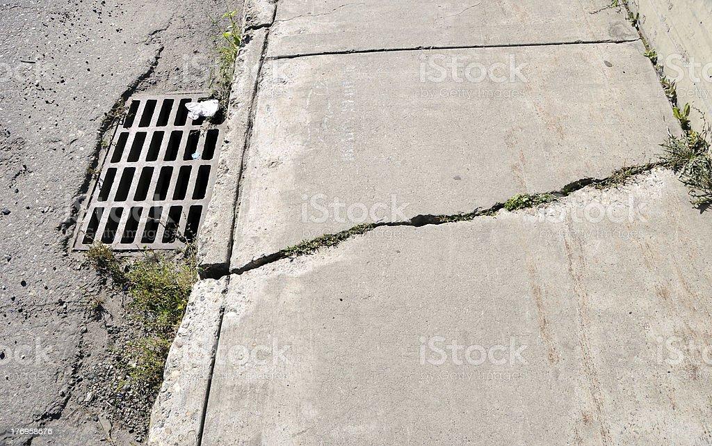 Cracked Urban Sidewalk royalty-free stock photo