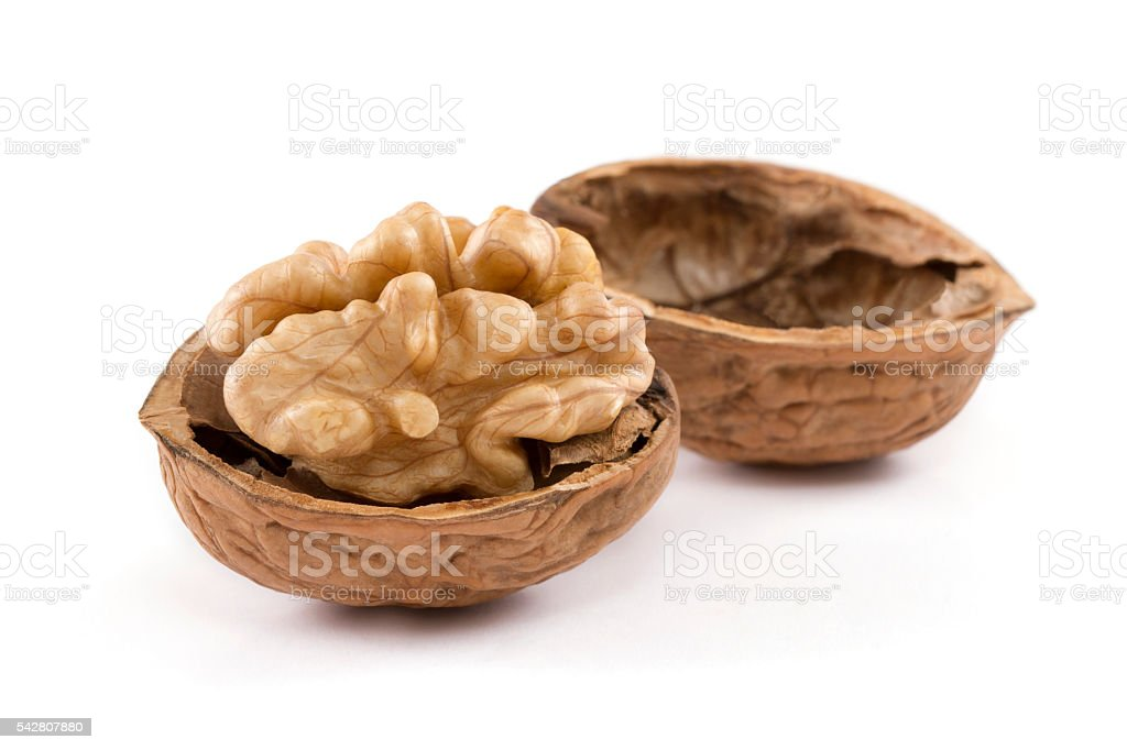 Cracked Walnut stock photo