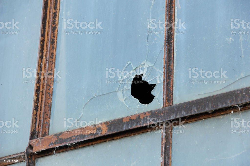 Cracked Window Pane stock photo