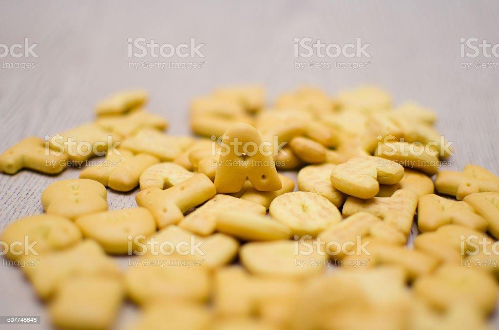 Cracker Alphabet A on many crackers stock photo