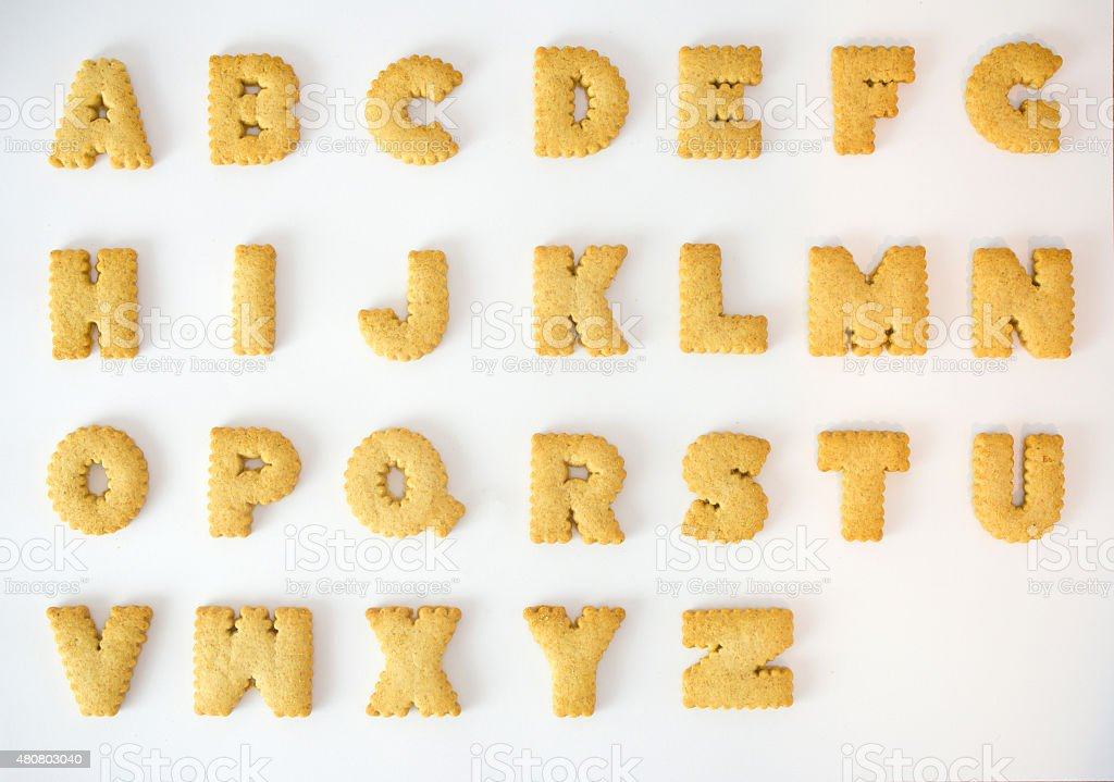 Cracker alphabet A-Z isolated on over white background stock photo