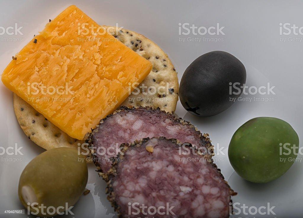 Cracker and Cheese Antipasti stock photo