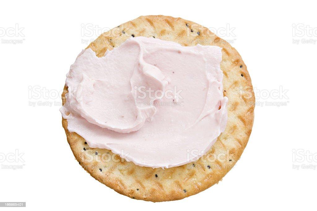 Cracker And Strawberry Cream Cheese stock photo