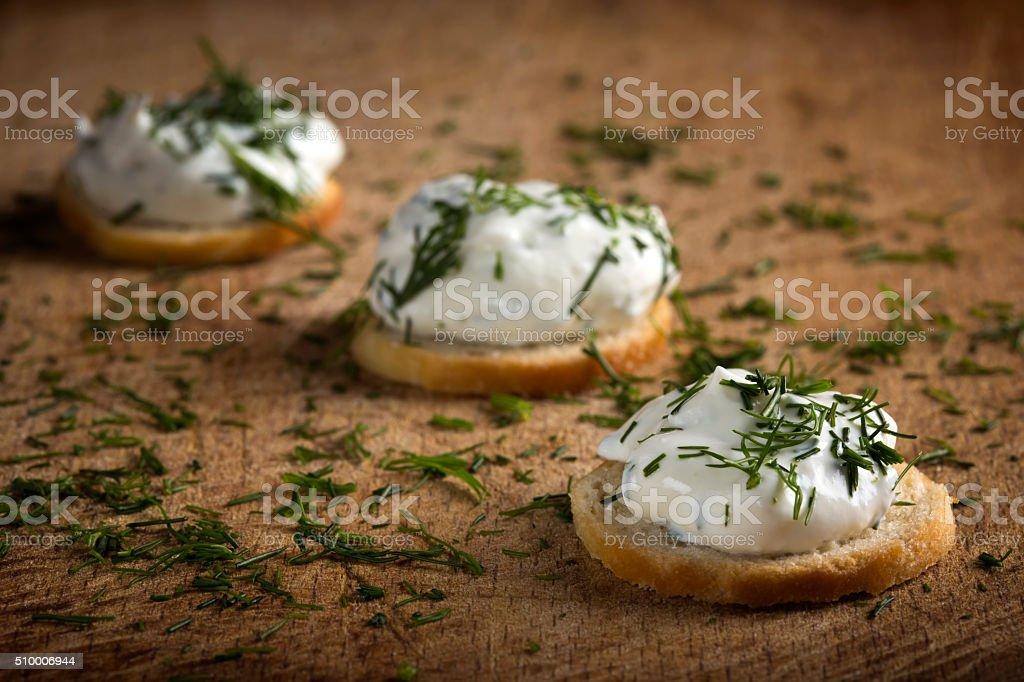 Cracker with cream cheese stock photo