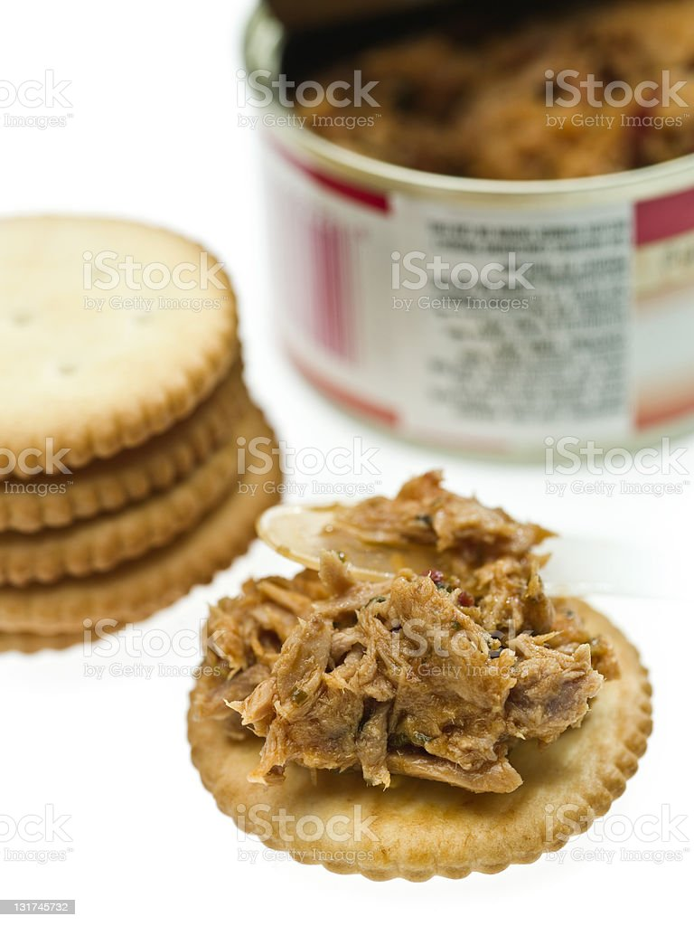Cracker with meat tuna royalty-free stock photo