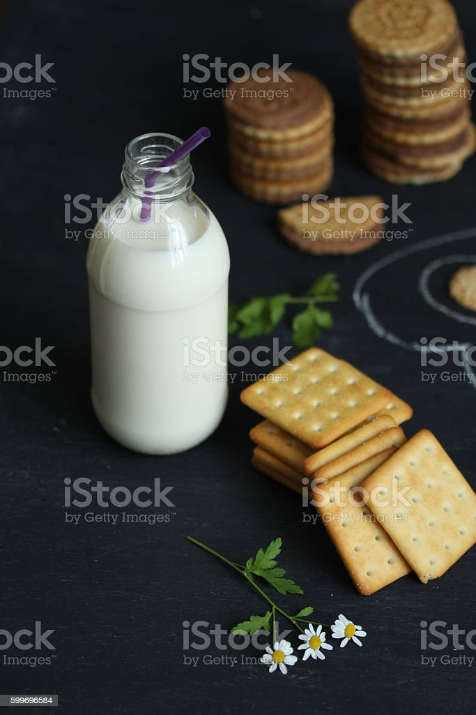 Crackers and bottle of milk on board stock photo
