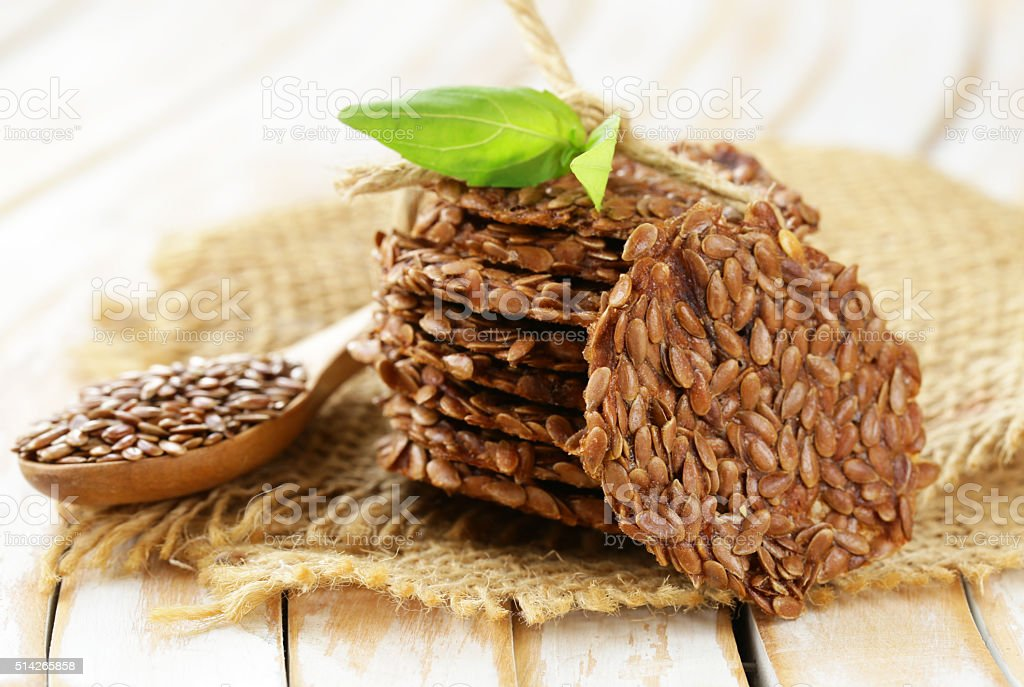 crackers from flax seeds, healthy food gluten free stock photo
