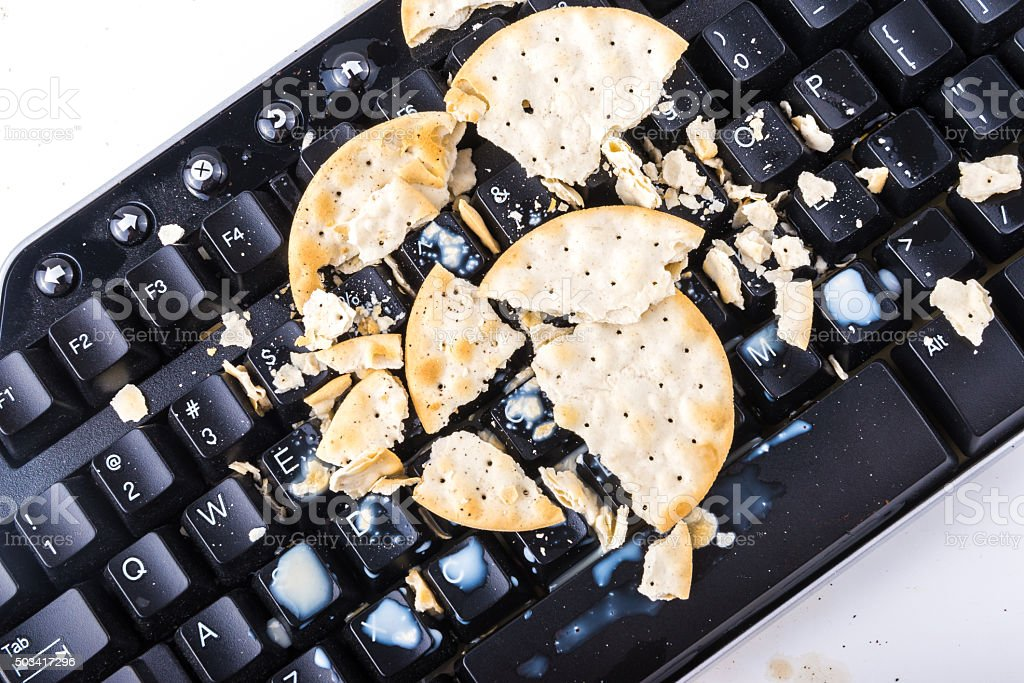 Crackers on the keyboard stock photo