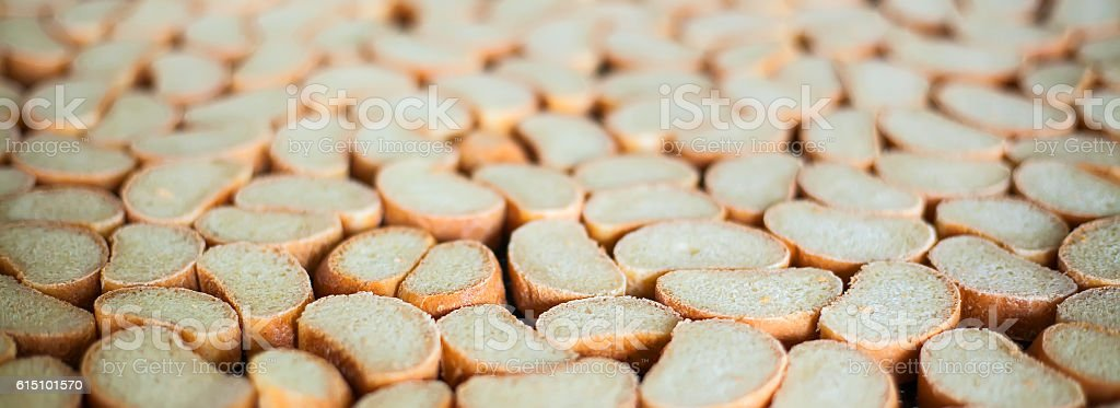 Crackers on the production line at the bakery stock photo