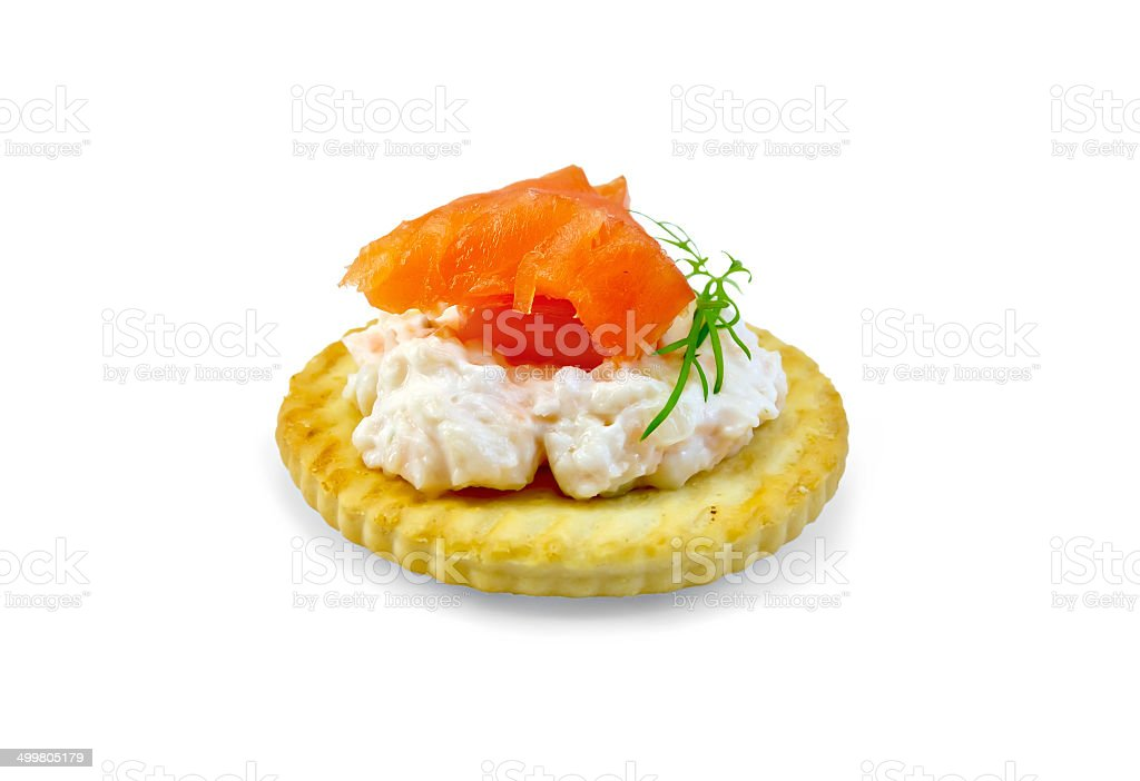 Crackers with cream and salmon royalty-free stock photo