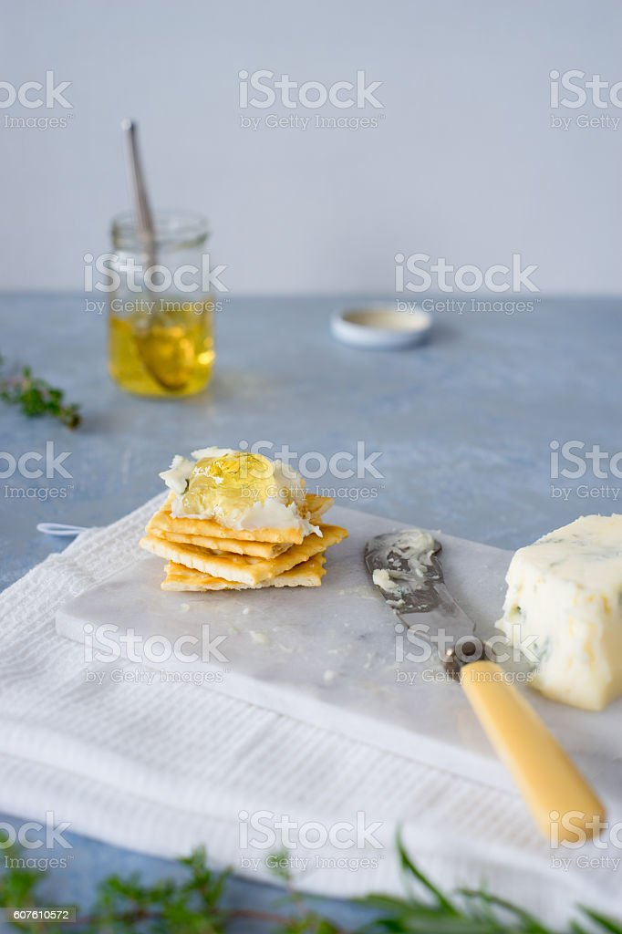 Crackers with gorgonzola and herb and white wine  jelly stock photo