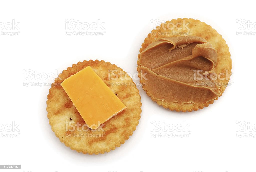 Crackers with peanut butter and cheese stock photo